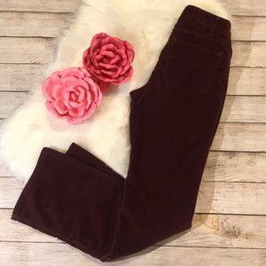 J Jill stretch corduroy pants, burgundy size 4